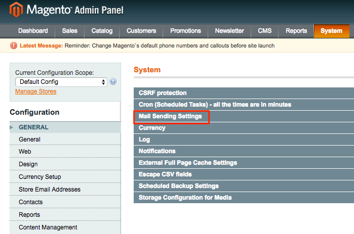 Figure 3. System section; Mail Sending Settings.